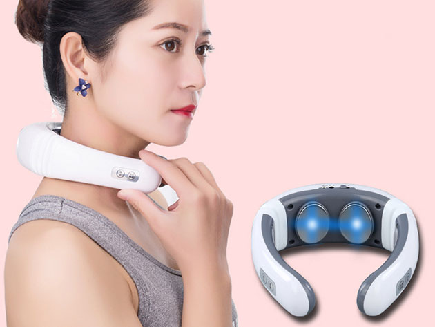 A person wearing a massager around their neck