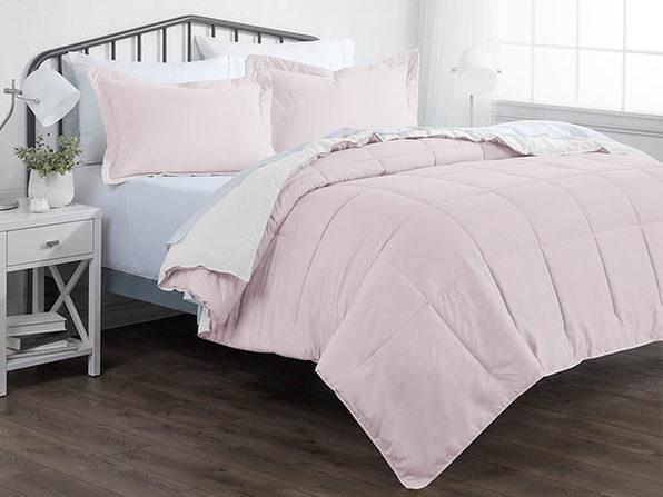 Down Alternative Reversible Comforter Set ( Blush & White   King / Cal King)