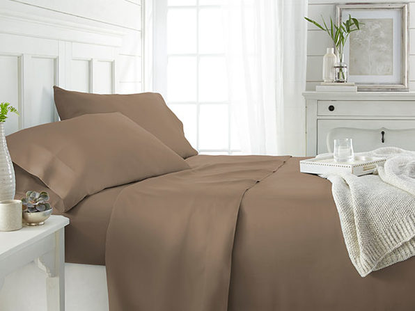 4-Piece Luxury 100% Rayon Bamboo Sheet Set - Taupe - King - Product Image
