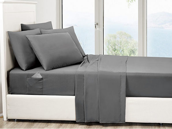 6-Piece Grey Ultra Soft Bed Sheet Set with Side Pockets Full - Product Image