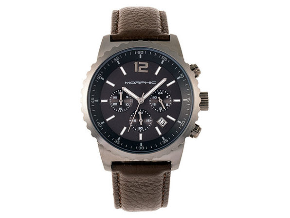 Morphic M67 Chronograph Leather Watch (Gunmetal/Brown)