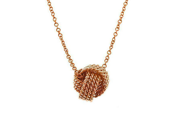 Mesh Knotted Ball Drop Necklace (Rose Gold)
