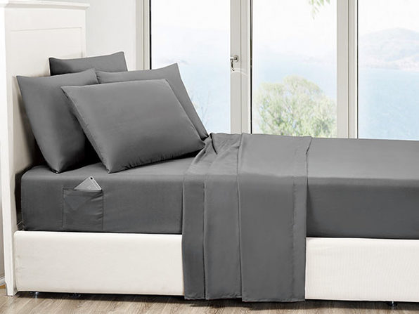 6-Piece Gray Ultra-Soft Bed Sheet Set With Side Pockets (King)