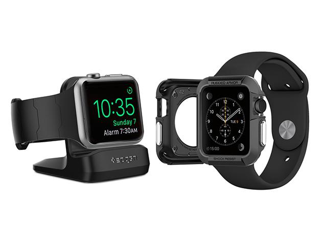 Spigen Rugged Armor Apple Watch Case Amp Stand 42mm Black