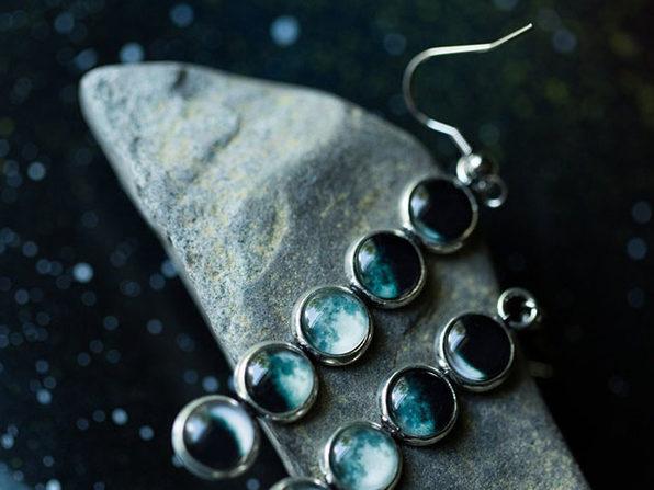 Moon Phase Vertical Dangle Earrings