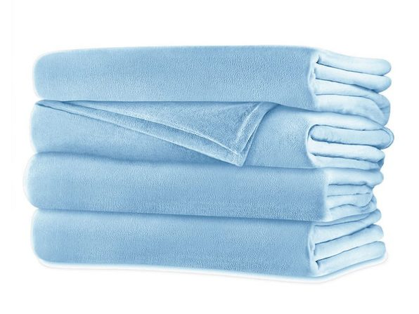 Sunbeam Velvet Plush Electric Heated Blanket King Size Blue Surf Washable Auto Shut Off 20 Heat Settings - Blue Surf