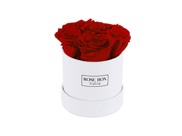 Mini White Boxes with Roses (Ruby Pink)