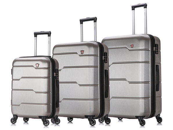 "DUKAP Rodez Lightweight Hardside 3-Piece Set (20""/24""/28"", Silver)"