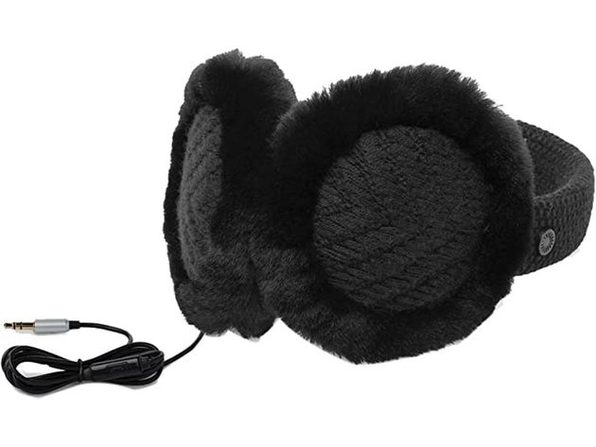 UGG Women's Textured Wired Knit Earmuff with Functional Headphones and Plug-In Aux Cord, One Size, Black (New Open Box) - Product Image