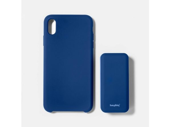 Heyday Apple iPhone XS Max Silicone Case with 4000mah Power Bank, Made from a Lightweight and Durable, Dark Blue (New Open Box)