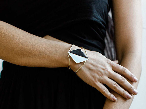 Black & Sky Split Diamond Cuff