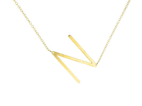 14K Gold Plated Letter Necklace - N - Product Image