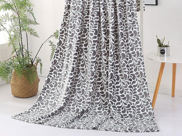 Paisley Plush Throw Blanket (Storm Grey)