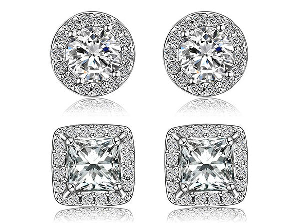 Halo Stud Earrings With Swarovski Elements: 2 Pairs