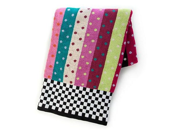 "MacKenzie-Childs 100% Cotton Ribbon & Dot Bath Towel 56"" x 28"""