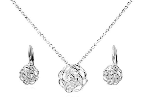 Rose is a Rose Pendant and Earring Set - Silver - Product Image