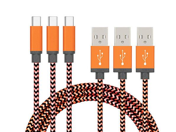 10' Nylon Braided USB-C Cable 3-Pack Orange - Product Image