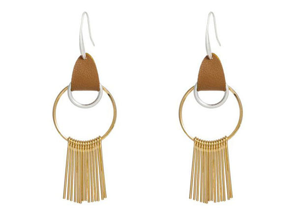 Gold Hoop Earrings with Gold Tassel and Leather Hook - Product Image