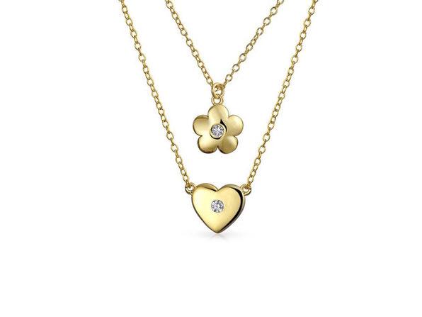 Homvare Women's 925 Sterling Silver Heart Flower 2 Pc Necklace - Gold