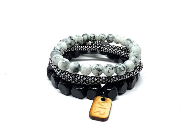 Square Beads Bracelets in Grayscale: 3-Pack