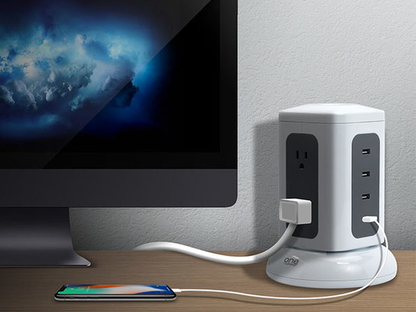 One Power 6-Outlet & 4-USB Port Tower Surge Protector