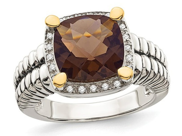 3.60 Carat (ctw) Smokey Quartz Cable Ring in Sterling Silver with 14K Gold Accents - 6