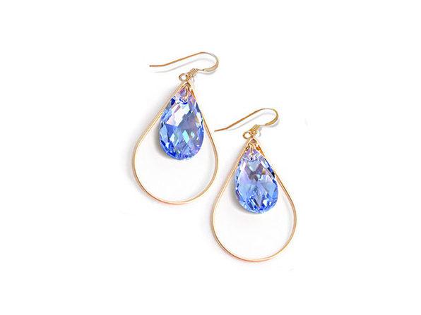 Sonia Hou SELFIE Swarovski Crystal Earrings (Sake Blue)