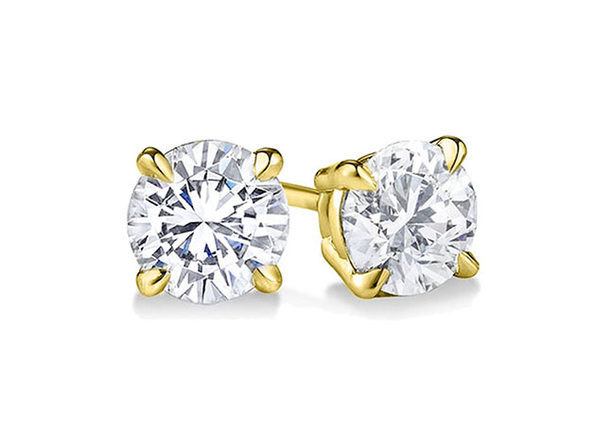 Yellow Gold Sterling Silver 4 Prongs Diamonds Studs Earrings - 3mm - Product Image