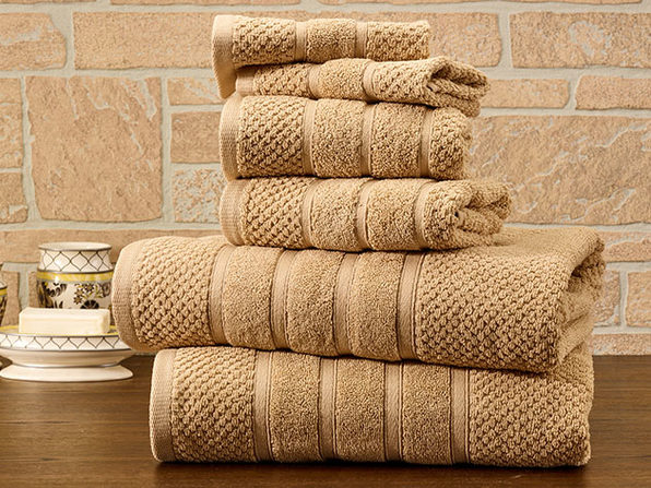 6-Piece Bibb Home Cotton Towel Set (Linen) - Product Image