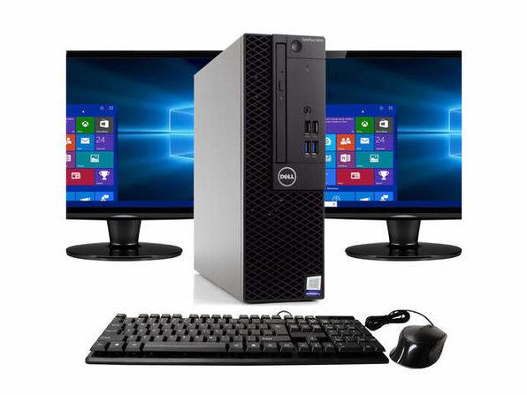 """Dell Optiplex 3050 Desktop PC, 3.2GHz Intel i5 Quad Core Gen 7, 16GB RAM, 1TB SATA HD, Windows 10 Professional 64 bit, Dual (2) NEW 24"""" Screens Screen (Renewed)"""