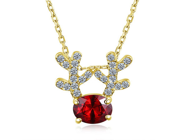 Reindeer Pendant Necklace Ft. Red & Clear Swarovski Crystals