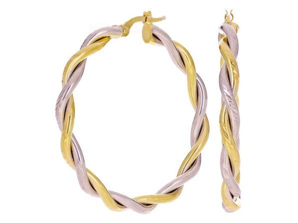 Christian Van Sant Italian 14k Yellow & White Gold Earrings CVE9LRS - Product Image