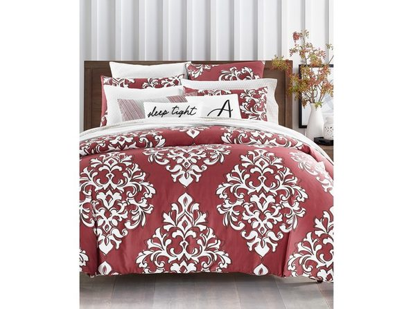 Charter Club Damask Designs Outline 3 Piece Bedding Duvet Set Size King Cotton 300 Thread Count Red Stacksocial