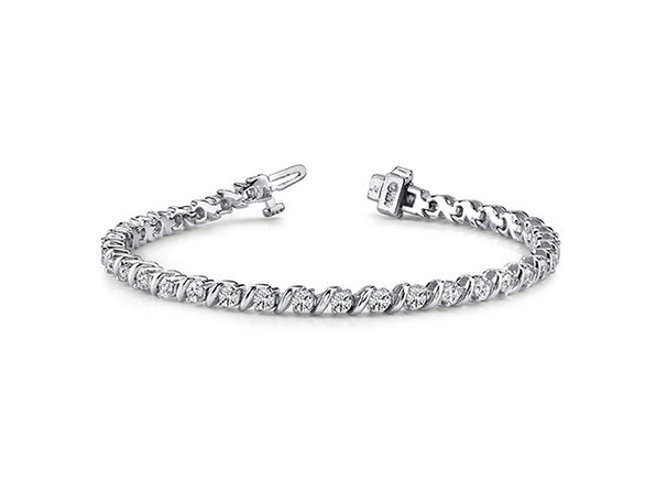 "Sterling Silver Tennis Round ""s"" Bracelet 	Round ""S"" White - Product Image"
