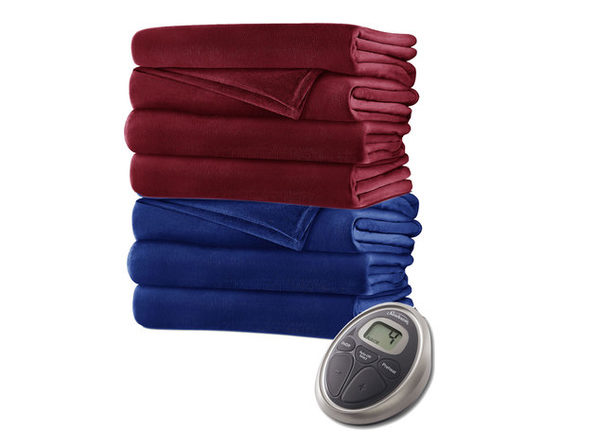 Sunbeam Soft Velvet Plush Electric Heated Warming Blanket Queen Royal Blue Washable Auto Shut Off 20 Heat Settings - Royal Blue