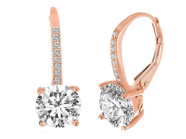Leverback Earrings Made with Swarovski Elements - Rose Gold - Product Image