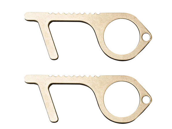 Safe Touch N Go: Contact-Less Keychain Tool (Aluminum Alloy (Gold) / 2 Pack)
