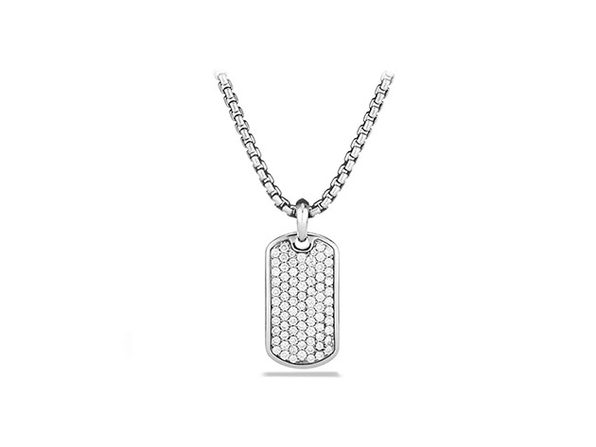 Stainless Steel Dog Tag Pendant Necklace (Silver/Silver)