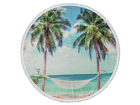 Summer Round Cotton Turkish Beach Towel - Product Image