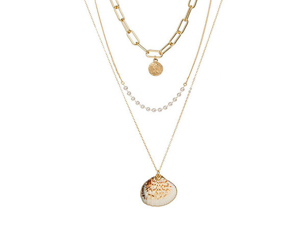Gold Sea Shell Three Layer Necklace - Product Image