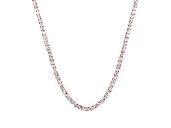 Swarovski Crystals Classic 3mm Tennis Choker Necklace Rose Gold - Product Image