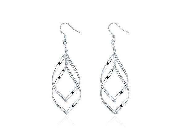 Spiral Twist Drop Earrings (Silver)