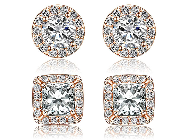 Halo Stud Earrings With Swarovski Elements: 2 Pairs (Rose Gold), on sale for $9.99 (87% off)