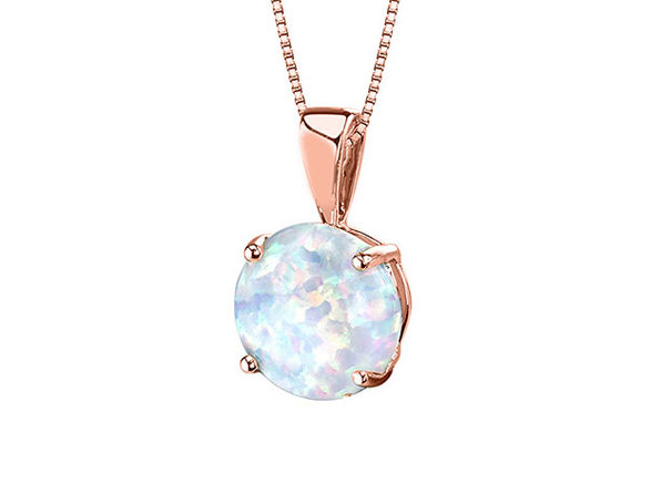 Opal-like Pendant Drop Necklace (Rose Gold)