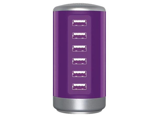 30W 6 Port USB Charging Station Purple - Product Image