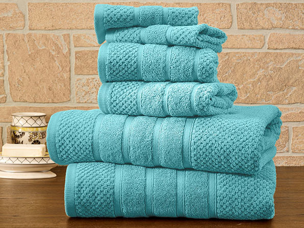 6-Piece Bibb Home Cotton Towel Set (Aqua) - Product Image