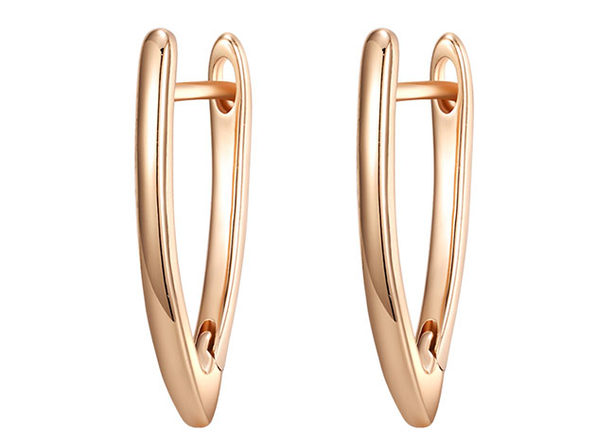 Plain Curved Huggie Earrings (Rose Gold)