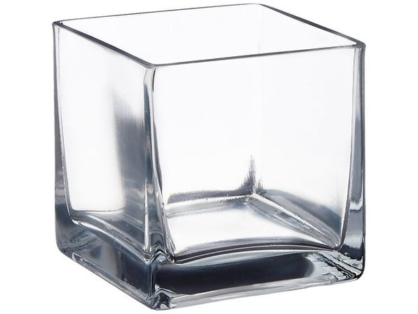 "Afloral Clear Cube Glass Vase 5"" x 5"""