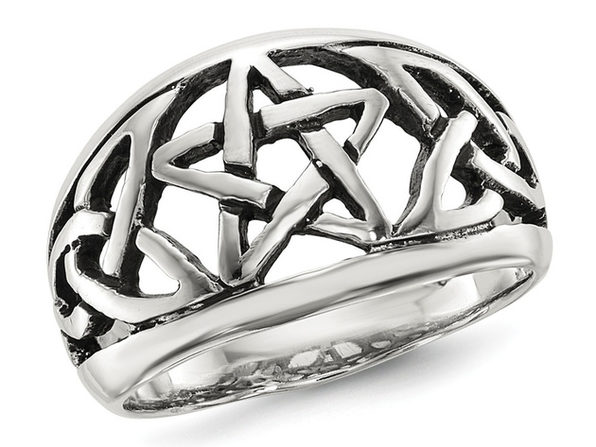 Ladies Oxidized Star Ring in Sterling Silver - 8