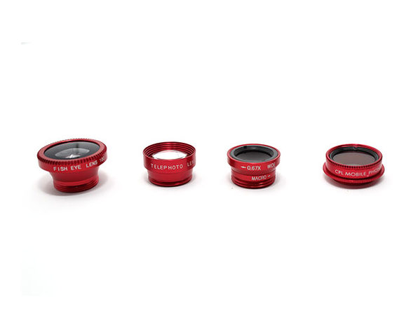 Clip & Snap Smartphone Camera Lenses: 5-Pack (Red) - Product Image